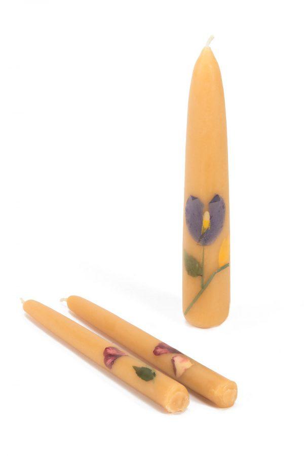 זוג נרות שבת ונר בינוני מעוטר אקו סטור