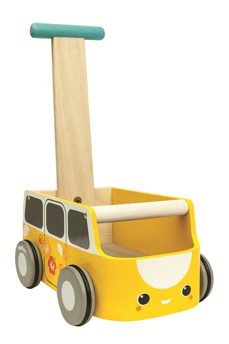 עגלת הליכון מכונית צהובה - מעץ