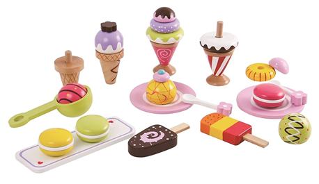 סט גלידות ומתוקים מעץ - צעצועי עץ