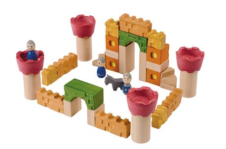 קוביות טירה מעץ ממוחזר - צעצועי עץ