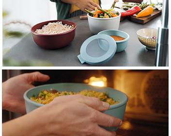 סט 3 קערות אוכל  רב שימושיות עם מכסה סיליקון לאטימה מלאה