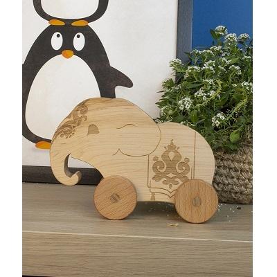 צעצוע גרירה מעץ - פיל