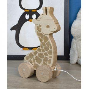צעצוע גרירה מעץ - ג'ירפה