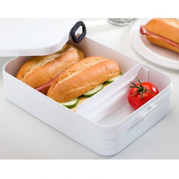 קופסת אוכל רב פעמית מחולקת - גדול ורוד