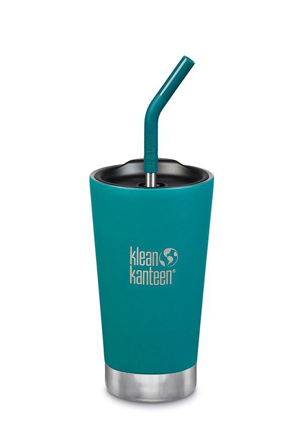 """כוס נירוסטה מבודדת חום וקור עם קש - קלין קנטין - 473 מ""""ל"""
