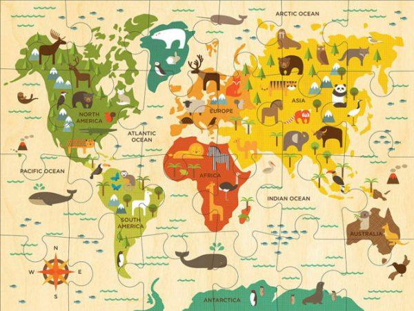 פאזל  24 חלקים - מפת העולם